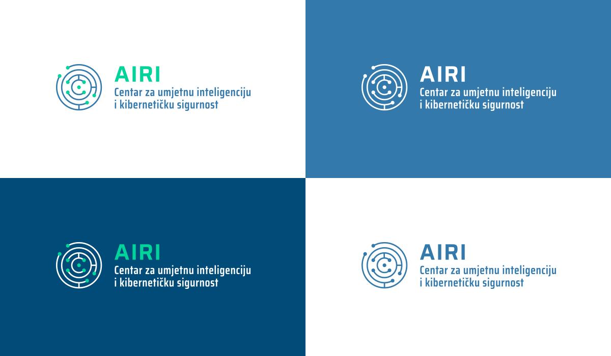 Logo Centra za umjetnu inteligenciju i kibernetičku sigurnost - varijante boja