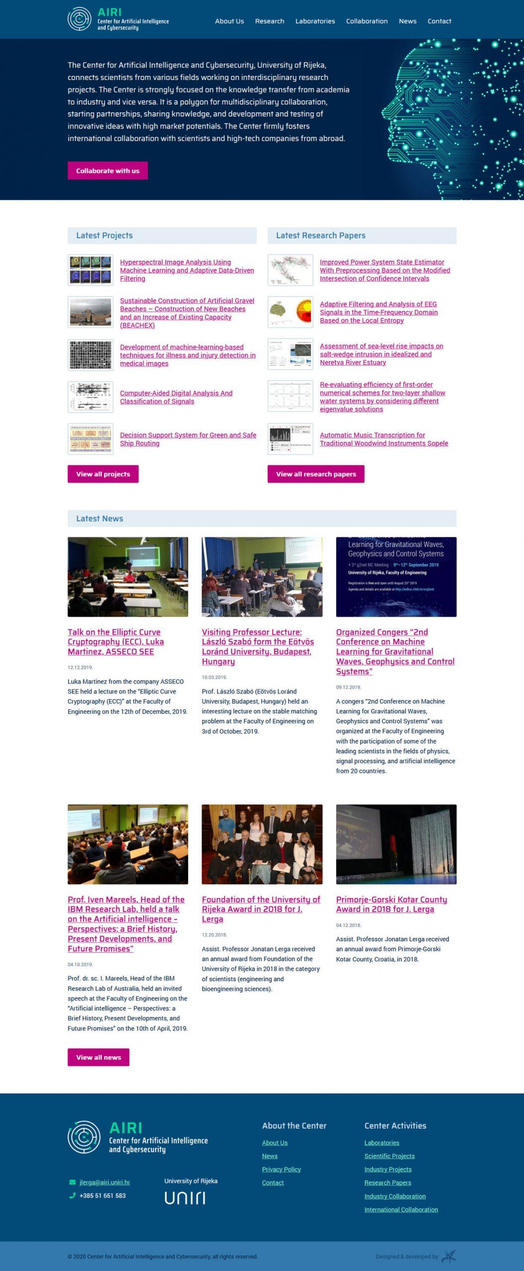 WordPress web stranica Centra za umjetnu inteligenciju i kibernetičku sigurnost