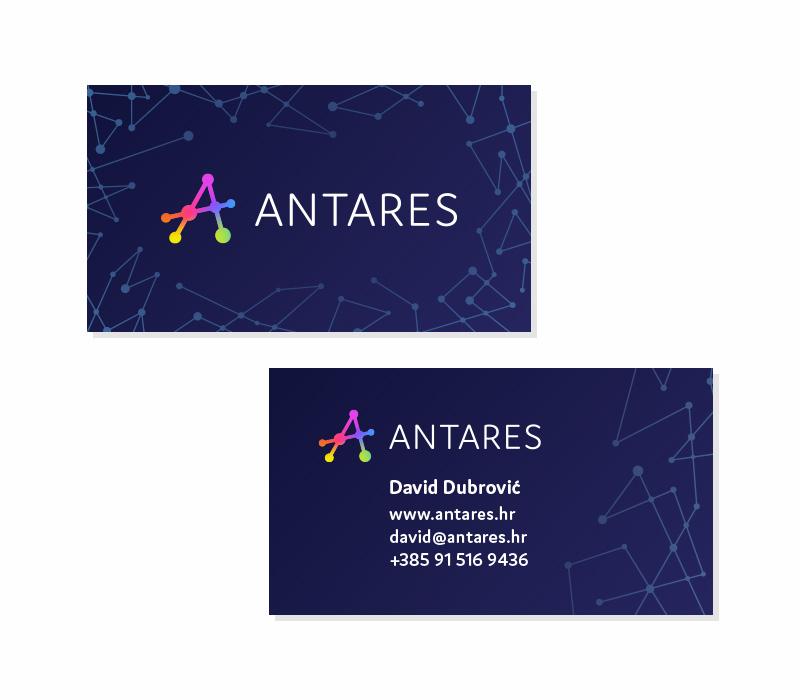 Antares vizualni identitet - dizajn posjetnice