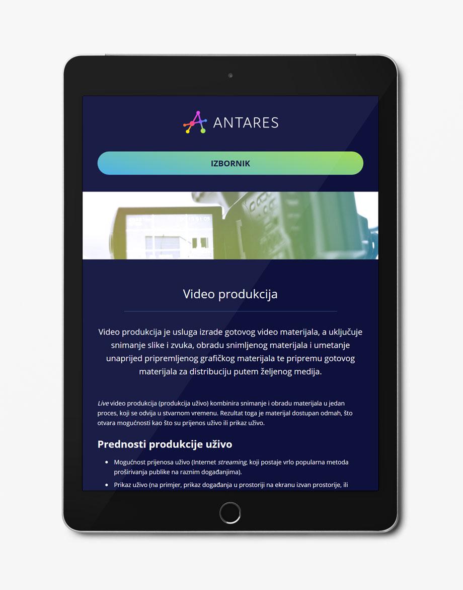 Antares web stranica na tabletu