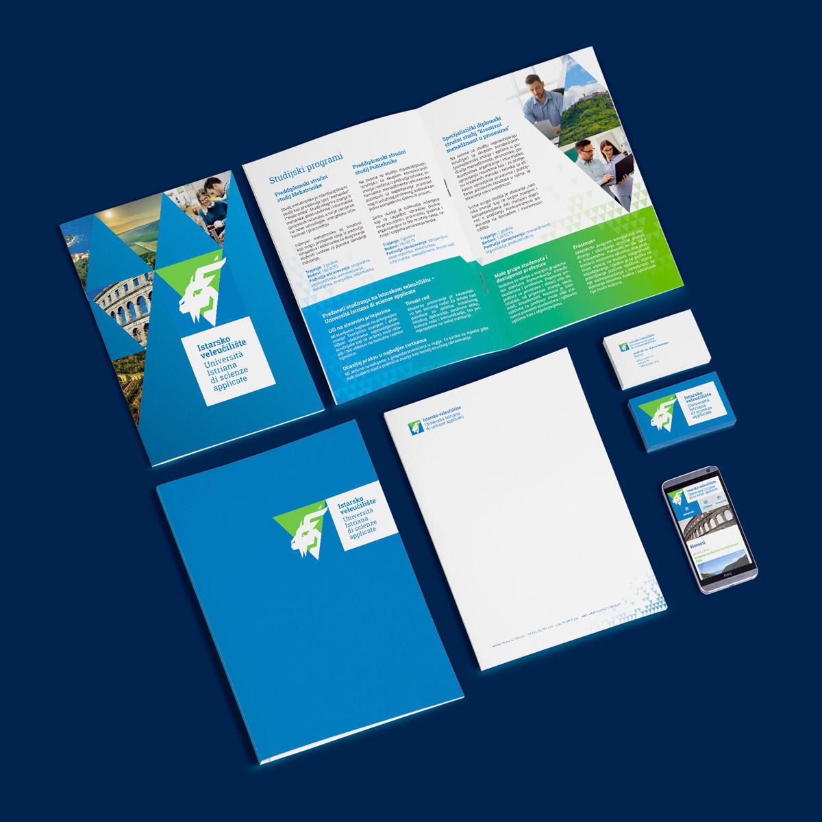 Istarsko veleučilište vizualni identitet - Posjetnica, memorandum, mapa, brošura