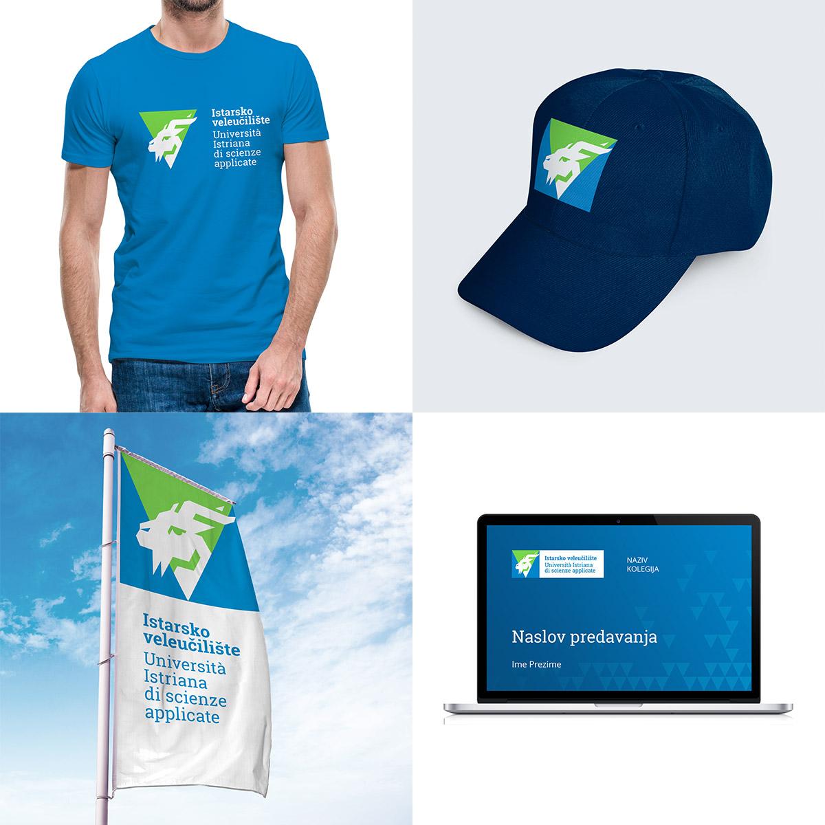 Istarsko veleučilište vizualni identitet - Majica, kapa, zastava, prezentacija