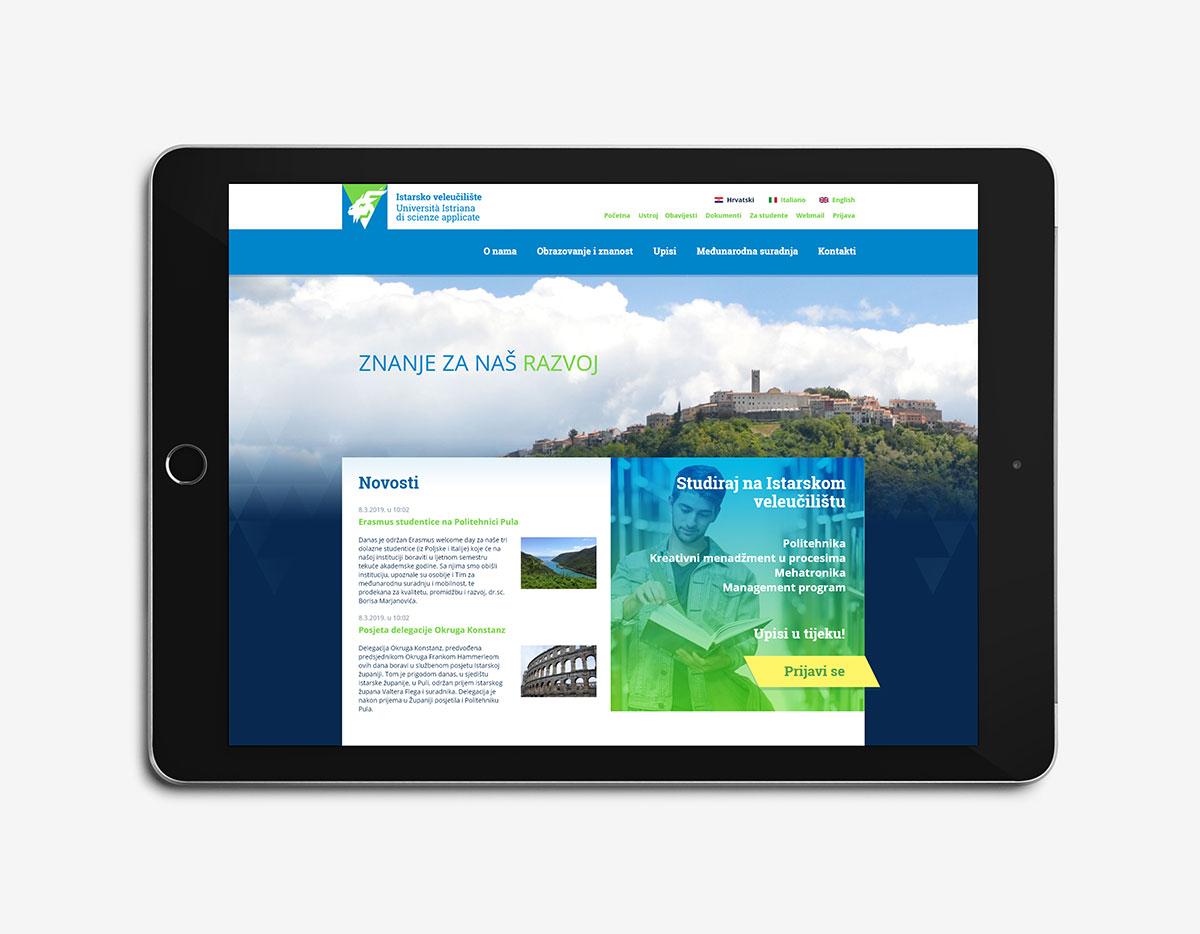 Istarsko veleučilište dizajn web stranice