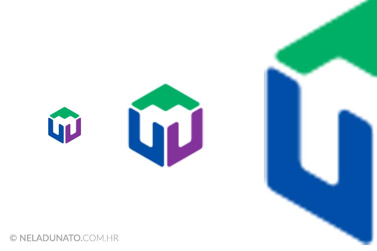 Prikaz rasterskog logotipa u različitim dimenzijama