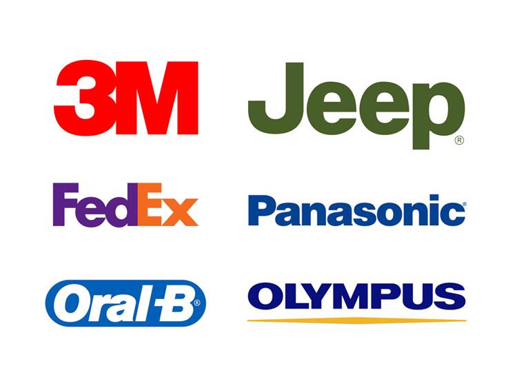 Logotipi raznih tvrtki u fontu Helvetica