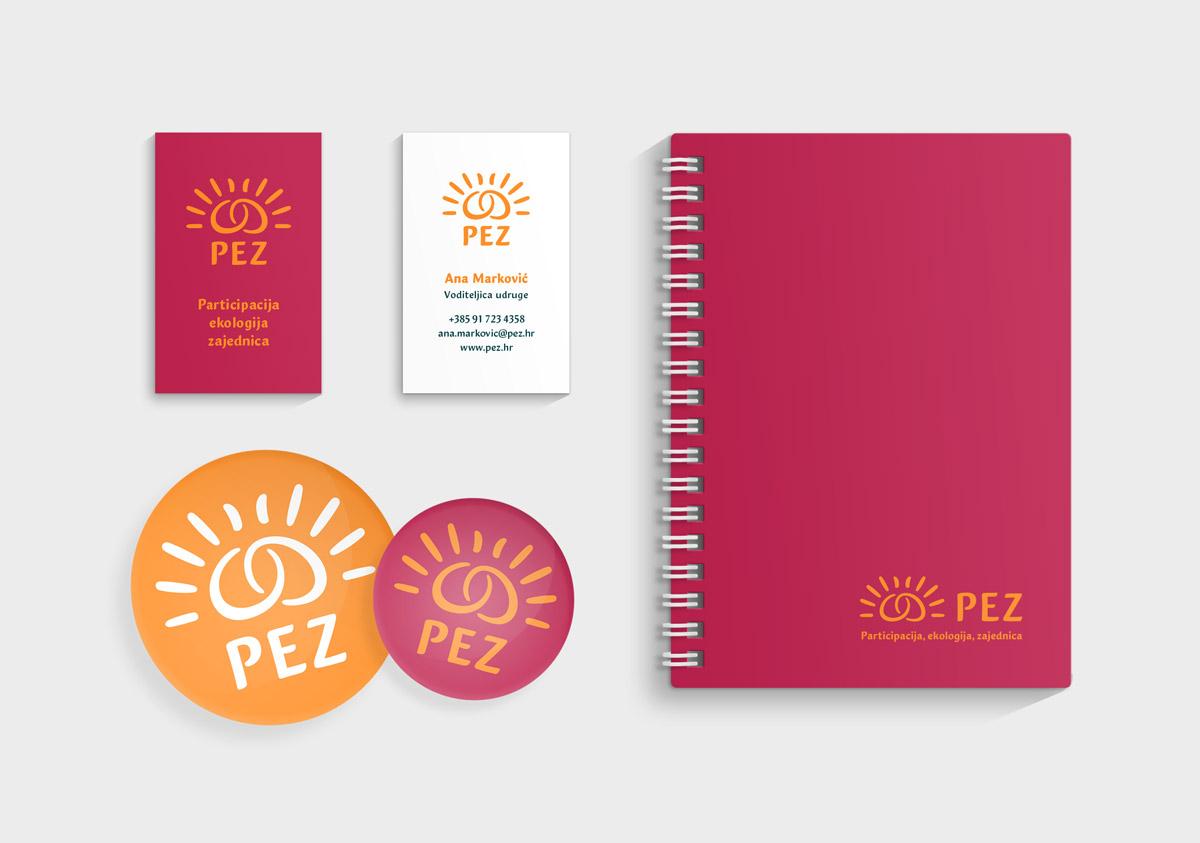 Vizualni identitet udruge PEZ - primjene na tiskane materijale
