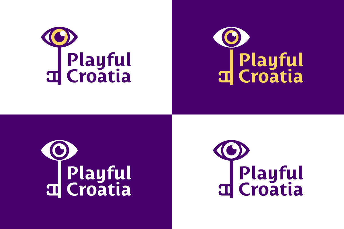 Varijante logotipa za brand Playful Croatia