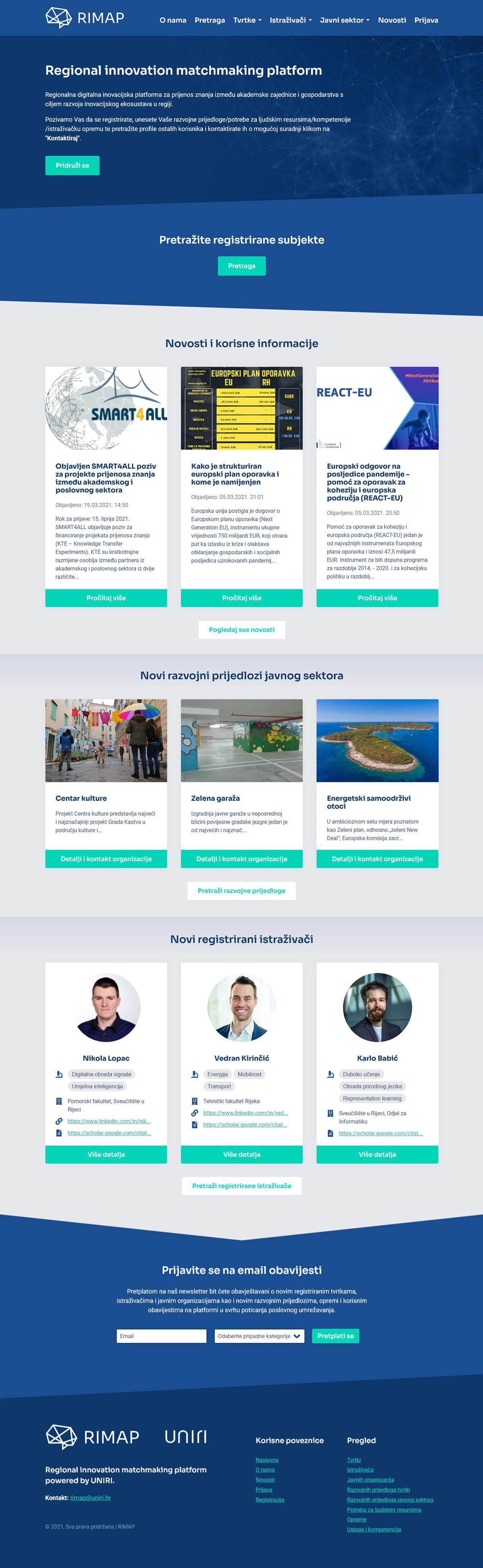 RIMAP dizajn web stranice