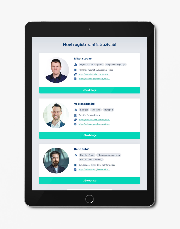 RIMAP responzivni dizajn web stranice – tablet