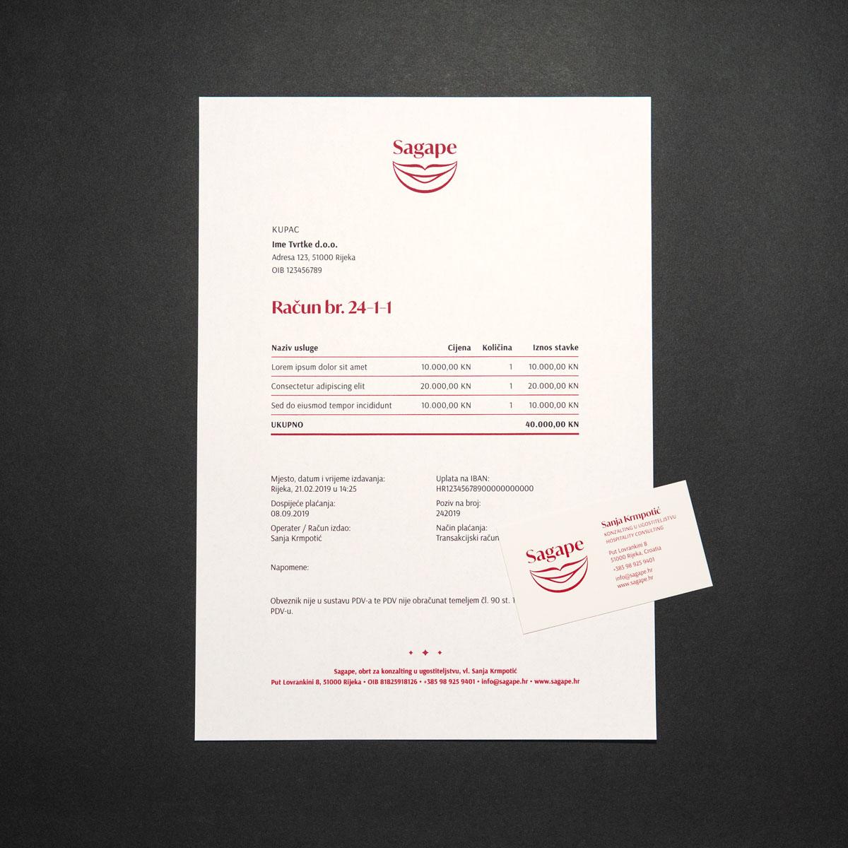 Sagape vizualni identitet - dizajn memoranduma