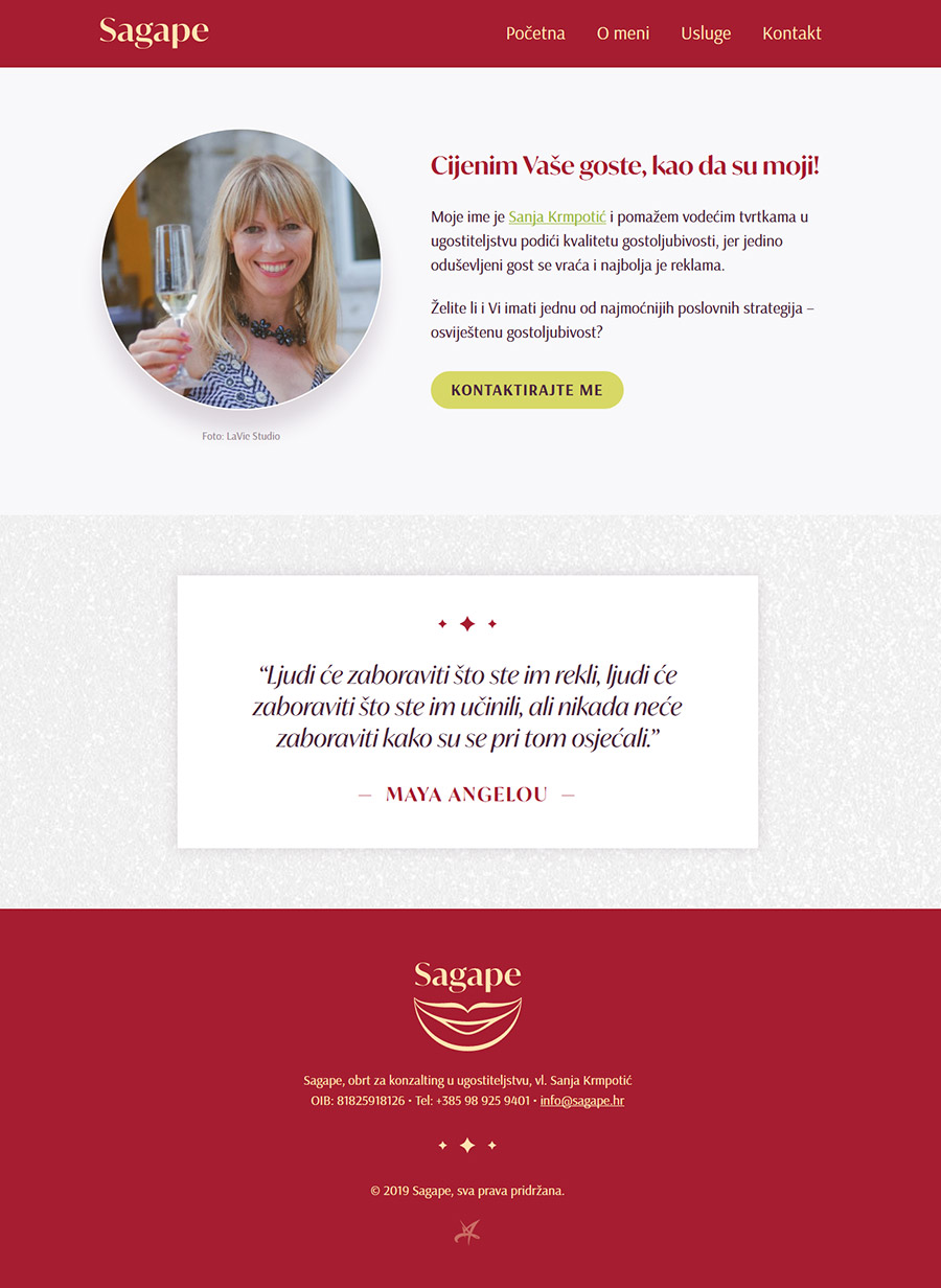 Sagape vizualni identitet - dizajn WordPress web stranice