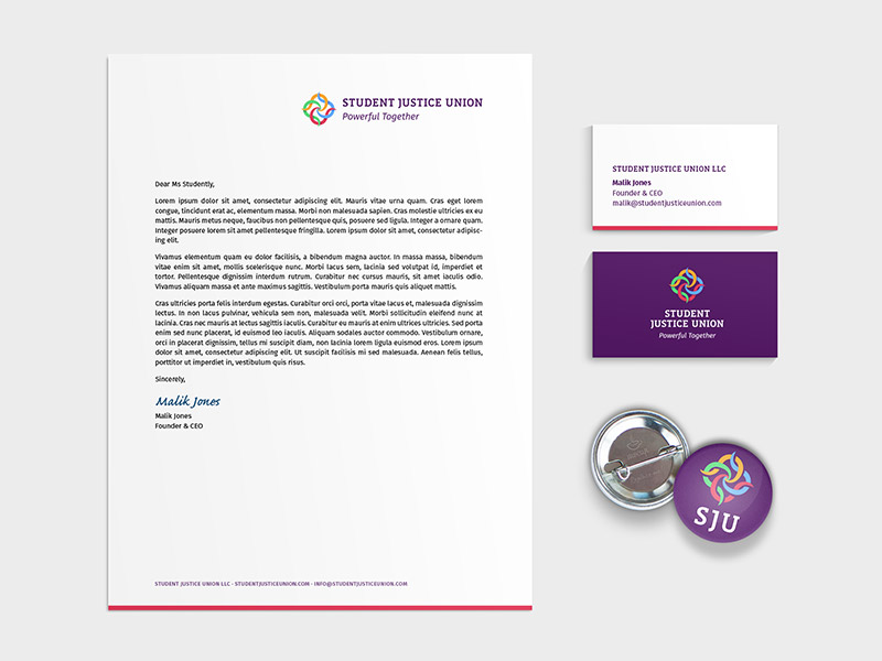 Student Justice Union vizualni identitet - Dizajn memoranduma i posjetnice