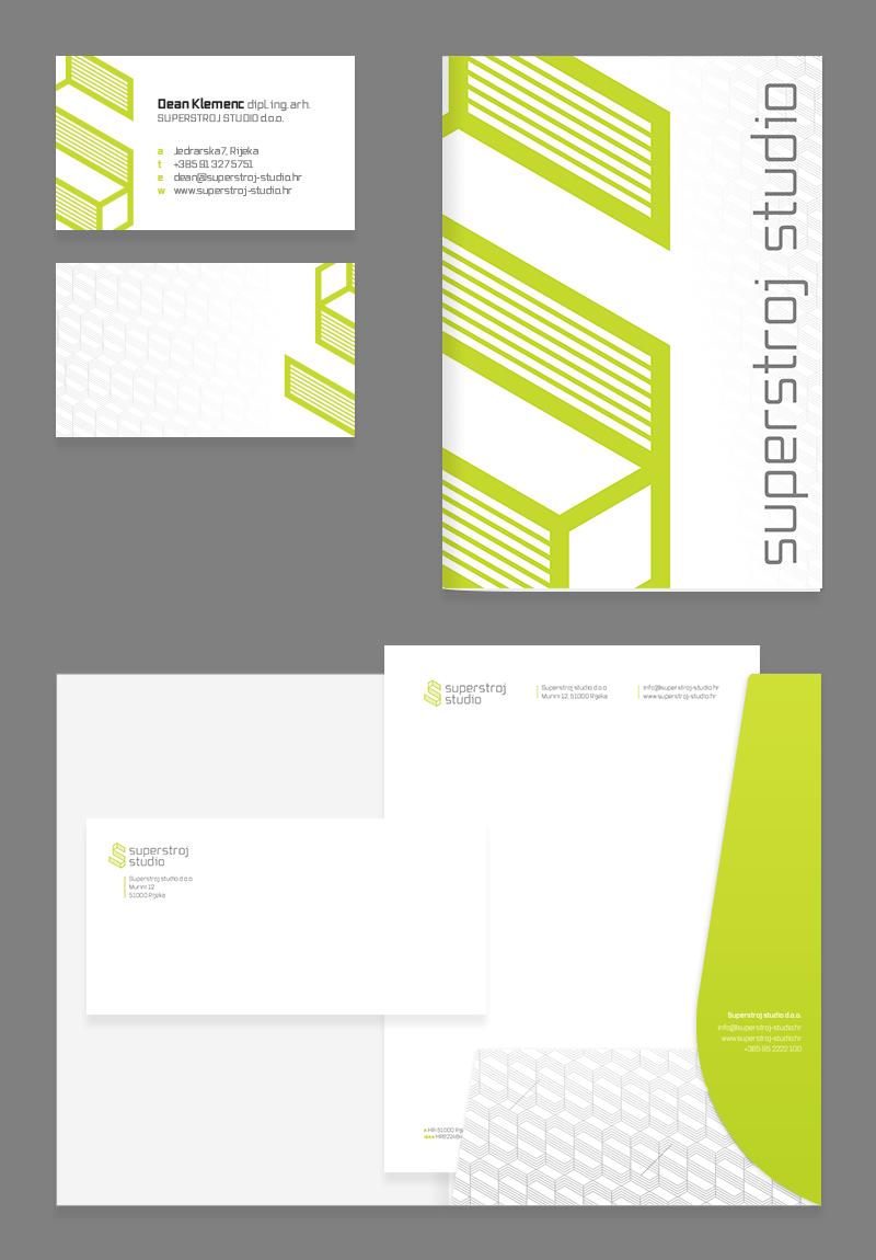 Superstroj studio vizualni identitet - posjetnica, memorandum, omotnica i mapa